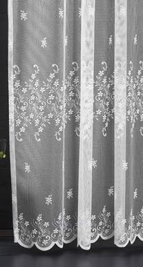 Fehér voila kész függöny zöld virág mintával