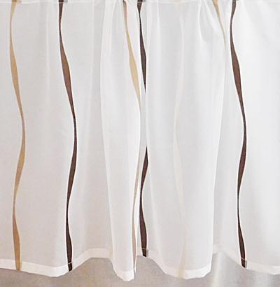 Fehér voila kész vitrage függöny barna drapp nyírt mintával A.C.H./50/