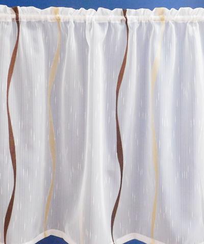 Fehér voila kész vitrage függöny barna drapp nyírt VK. A.C.H./43F./