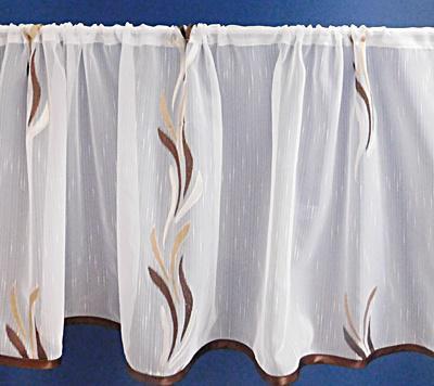 Fehér voila-sable kész függöny barna drapp nyírt Szirom A.C./45x110cm
