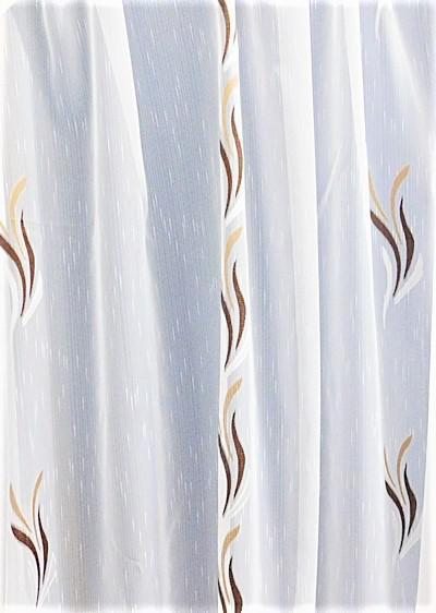 Fehér voila-sable kész függöny barna drapp nyírt Szirom/130x150cm