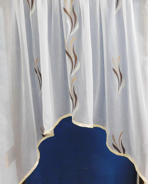Fehér voila-sable kész függöny barna drapp nyírt Szirom/90x170cm panoráma