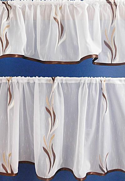 Fehér voila-sable kész függöny szett barna drapp nyírt Szirom A.C. 2 részes 140