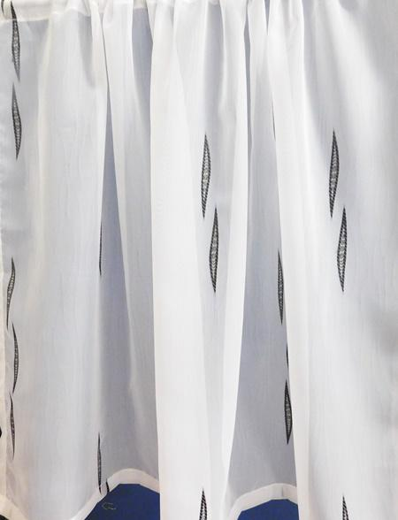 Fehér voila vitrage függöny fekete nyírt mintával A.C.CS.