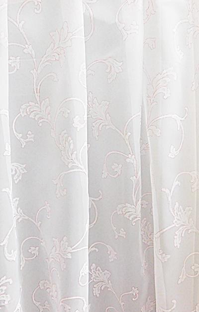 Fehér voila vitrage függöny narancs hímzéssel