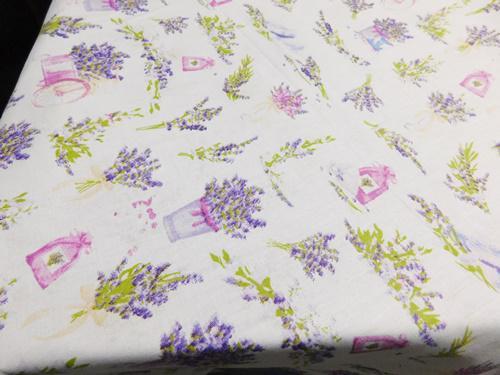 Levendula lepke pamut terítő drapp alapon 140x165cm
