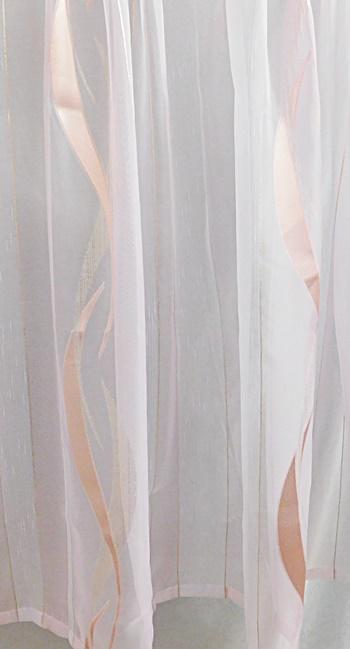 Organza voila kész függöny fehér rózsaszín púder arany/90x205cm