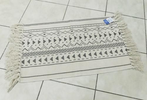 Pamut polieszter szőnyeg fekete nyers 45x75cm
