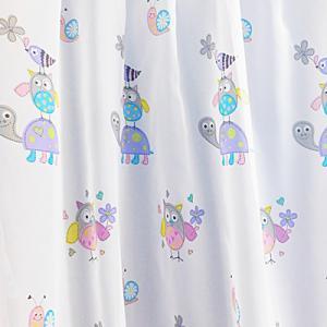 Baglyos fehér voila kész függöny lila bordűrös 80x130cm