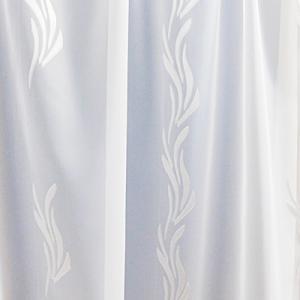 Fehér sable kész függöny kék ezüst organza mintával/120x210cm/