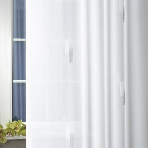 Fehér sable kész függöny kék ezüst organza mintával/160x165cm/