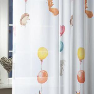 Fehér voila gyerekmintás kész függöny Lufi és Állatkák BR 150x130cm