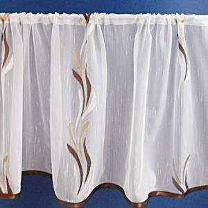 Fehér voila kész drapéria barna drapp nyírt Szirom 290