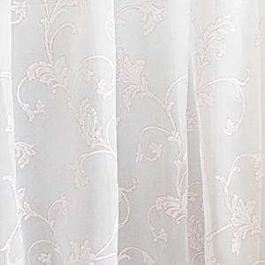 Fehér voila kész függöny 3D mintával mályva 150x150cm
