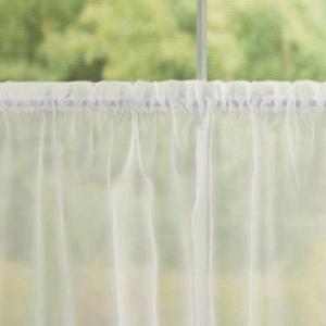 Fehér voila kész függöny fekete nyírt mintával Csepp 135x170cm