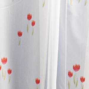 Fehér voila kész függöny Olívia barna virág N. 90x150cm