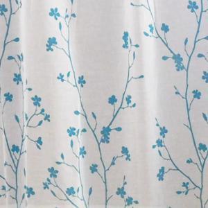 Fehér voila kész függöny Olívia kék virág