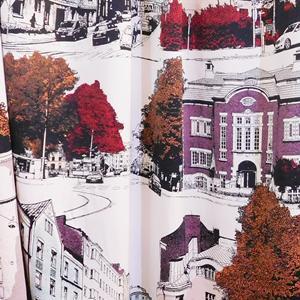Fehér voila kész függöny piros szürke karikás 175x280cm