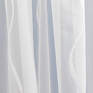 Fehér voila kész függöny szürke nyírt mintával Ovál/140x150cm