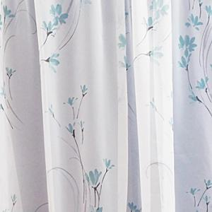 Fehér voila kész függöny türkisz virágos 90x180cm