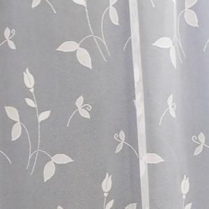 Fehér voila kész függöny zöld bordűrös virágos