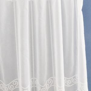 Fehér voila kész függöny zöld nyírt mintával A.C