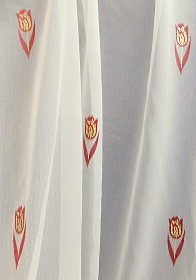 Törtfehér voila kész függöny bordó arany tulipán mintával