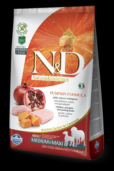 N&D Dog Grain Free Pumpkin csirke gránátalma Adult Medium 2,5 kg