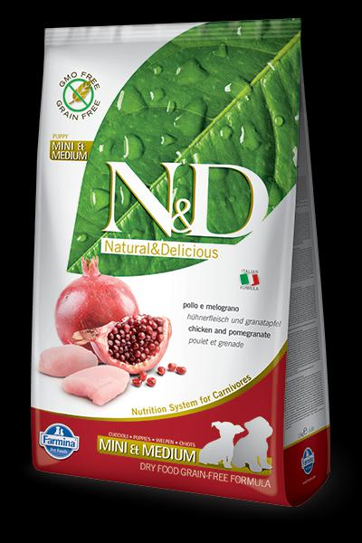 N&D GABONAMENTES CHICKEN & POMEGRANATE PUPPY MINI & MEDIUM