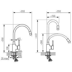 Ferro Zumba álló mosogató csaptelep flexibilis fekete kifolyócsővel (BZA4B)