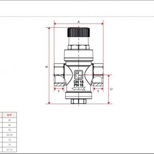 Itap Víznyomáscsökkentő 1/2'' DN15 (1 és 4bar között állítható) max 15 bar