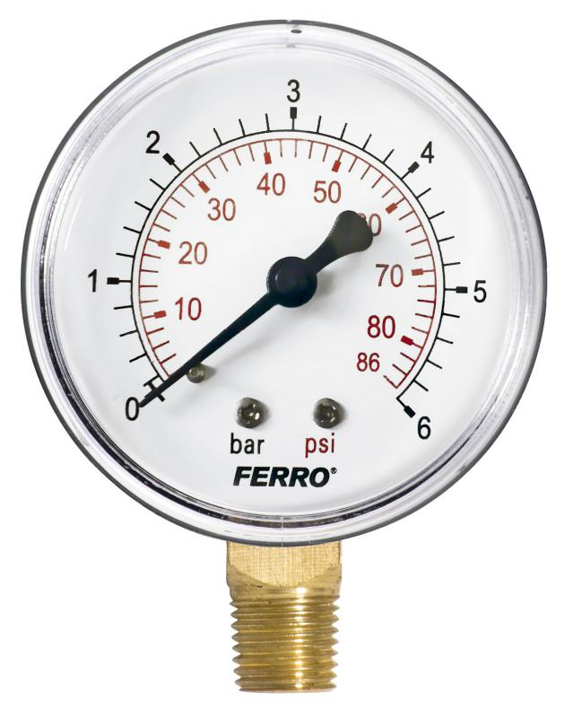 Ferro nyomásmérő alsó csatlakozású 6 bar (M6306R) manométer