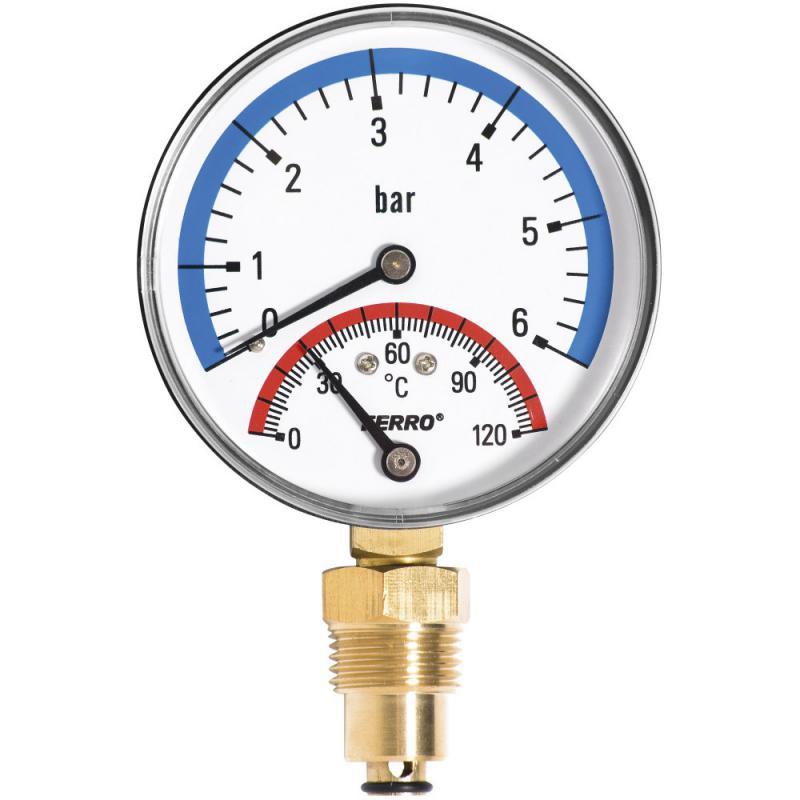 Ferro  termomanométer alsó csatlakozású 0-120 °C, 6 bar (TM80R)