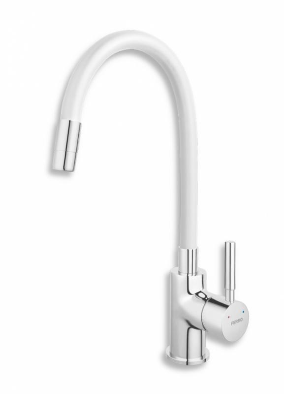 Ferro Zumba álló mosogató csaptelep flexibilis fehér kifolyócsővel (BZA4W)