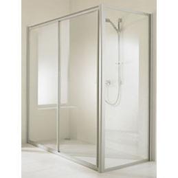 Huppe alpha szögletes zuhany tolóajtó-2 120 cm plexi/fehér