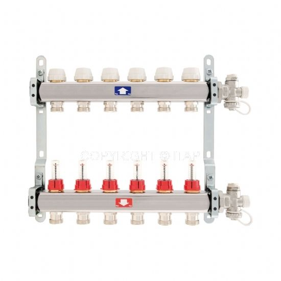 Itap Padlófűtés 1'' x 3/4'' x 5 Osztó-gyűjtő áramlásmérővel