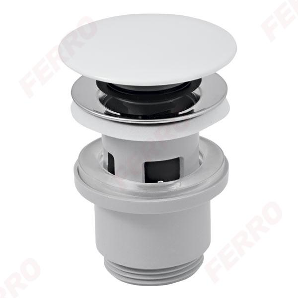 Klick-klack FEHÉR Ferro lefolyószelep G5/4 túlfolyós mosdóhoz, műanyag kerámia tetővel S288PPC
