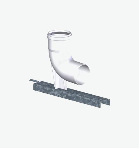 Tricox PPs bekötő könyök 80 mm tartó sínnel PBK20