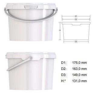 2  literes kerek vödör, vékony falú, Tel:06-20-941-44-44