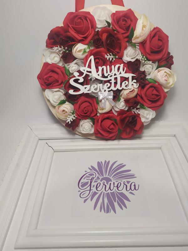 """""""Anya szeretlek"""", piros kép, virágdísz, kopogtató"""