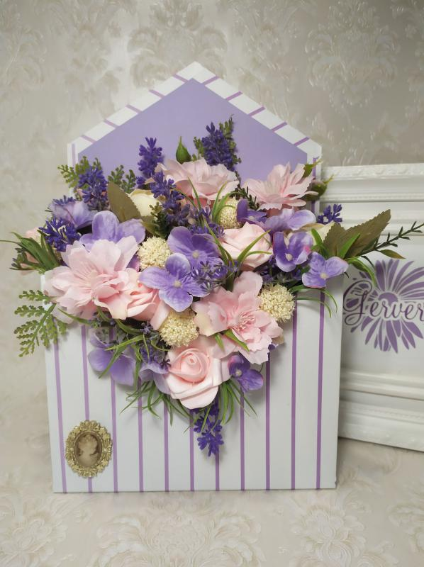 Boríték alakú virágbox, lila, rózsaszín