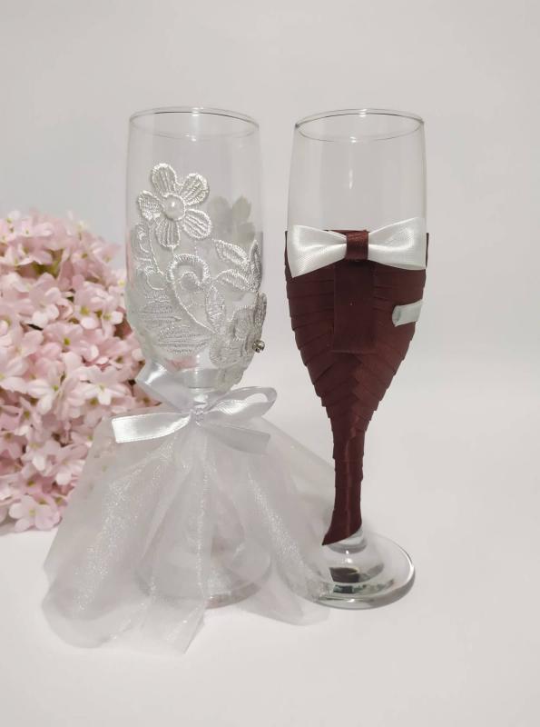Csipke virágok, esküvői pohár