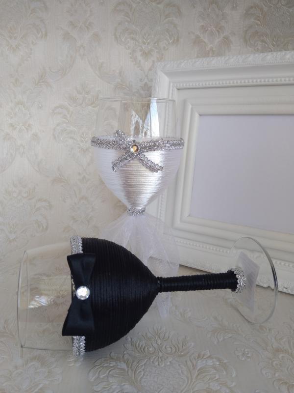 Esküvői borospohár, ezüst