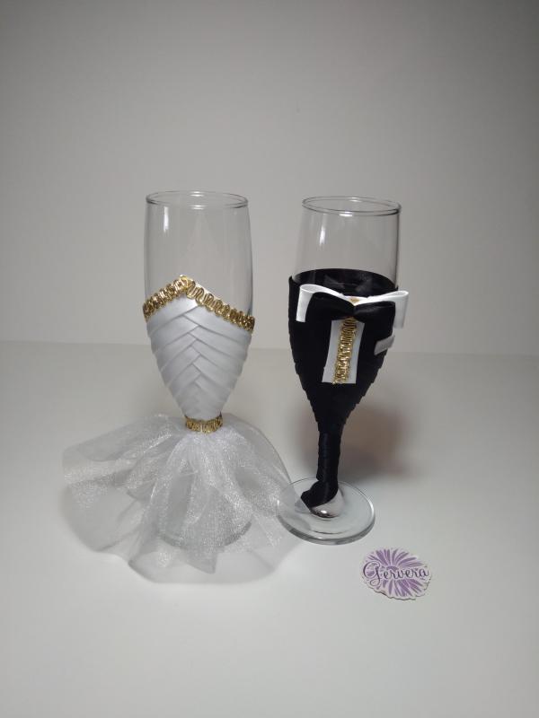 Esküvői pezsgőspohár, arany