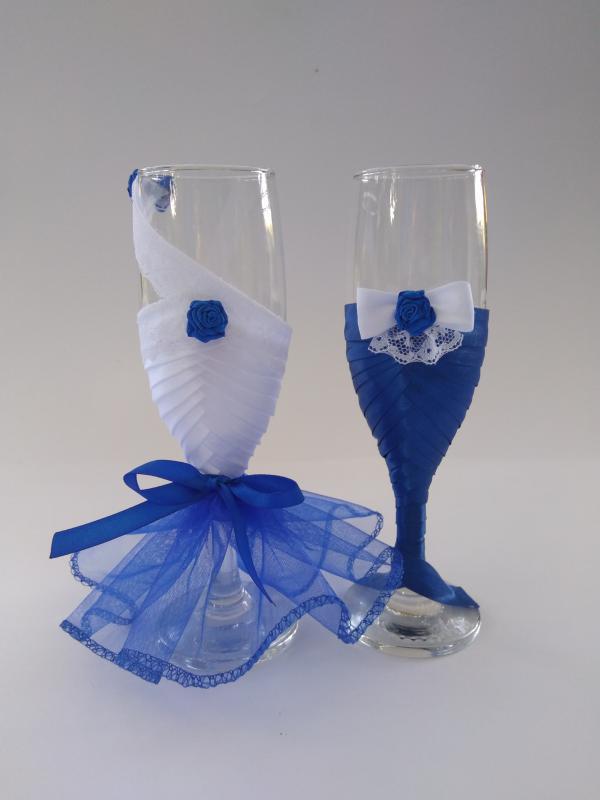 Esküvői pohár kék, rózsás