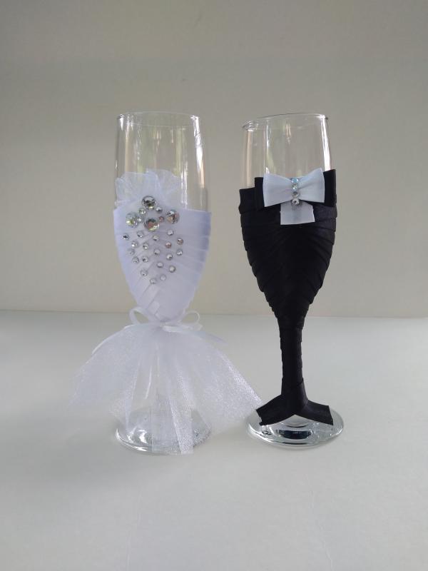 Esküvői pohár pár, csupa csillogás
