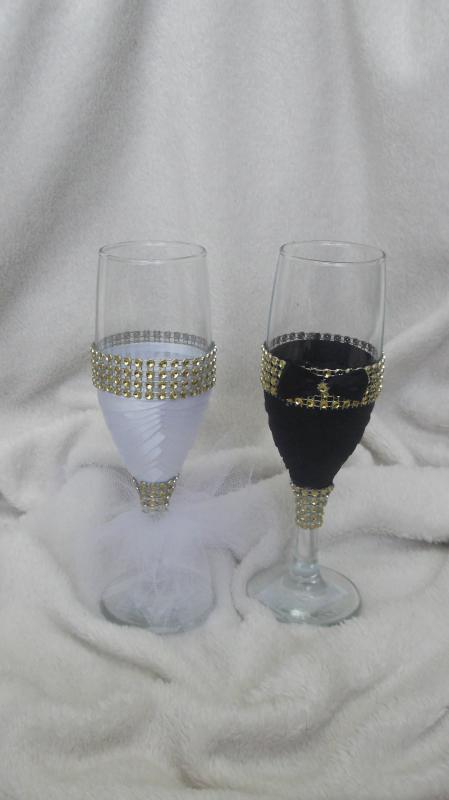 Esküvői pohár szett, arany, strasz