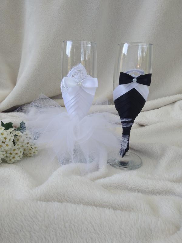 Esküvői pohár szett, csipkés