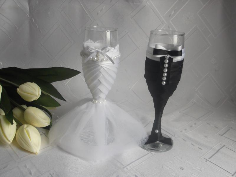 Esküvői pohár szett,gyöngyös