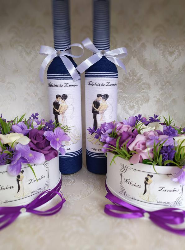 Esküvőre köszönet ajándék, kék-lila 2